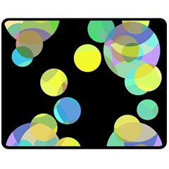 Yellow circles Double Sided Fleece Blanket (Medium)