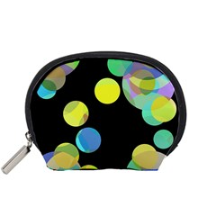 Yellow circles Accessory Pouches (Small)