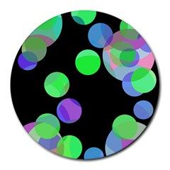Green decorative circles Round Mousepads