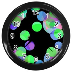 Green decorative circles Wall Clocks (Black)