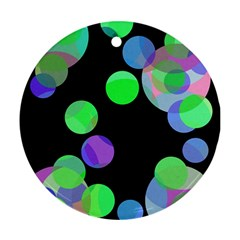 Green decorative circles Round Ornament (Two Sides)