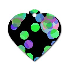 Green decorative circles Dog Tag Heart (Two Sides)