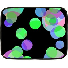 Green decorative circles Double Sided Fleece Blanket (Mini)