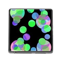Green decorative circles Memory Card Reader (Square)