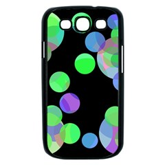 Green decorative circles Samsung Galaxy S III Case (Black)