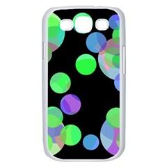 Green decorative circles Samsung Galaxy S III Case (White)