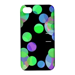 Green decorative circles Apple iPhone 4/4S Hardshell Case with Stand