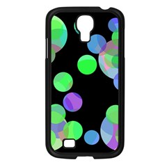 Green decorative circles Samsung Galaxy S4 I9500/ I9505 Case (Black)