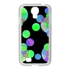 Green decorative circles Samsung GALAXY S4 I9500/ I9505 Case (White)