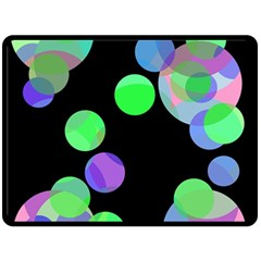 Green decorative circles Double Sided Fleece Blanket (Large)
