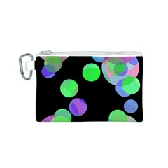 Green decorative circles Canvas Cosmetic Bag (S)
