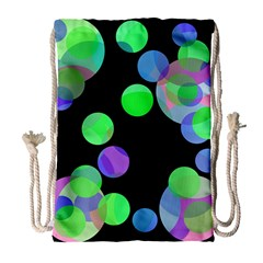 Green decorative circles Drawstring Bag (Large)
