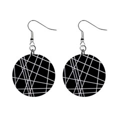 Black and white simple design Mini Button Earrings