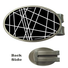 Black and white simple design Money Clips (Oval)