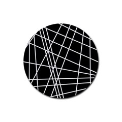 Black and white simple design Rubber Coaster (Round)