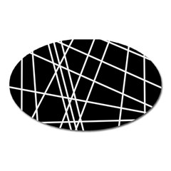 Black and white simple design Oval Magnet