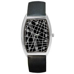 Black and white simple design Barrel Style Metal Watch