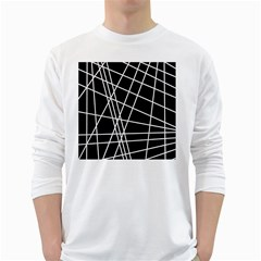 Black and white simple design White Long Sleeve T-Shirts