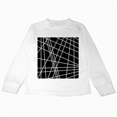 Black and white simple design Kids Long Sleeve T-Shirts