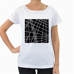 Black and white simple design Women s Loose-Fit T-Shirt (White)