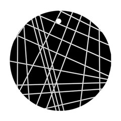 Black and white simple design Round Ornament (Two Sides)