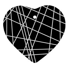 Black and white simple design Heart Ornament (2 Sides)