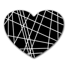 Black and white simple design Heart Mousepads