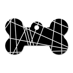 Black and white simple design Dog Tag Bone (Two Sides)