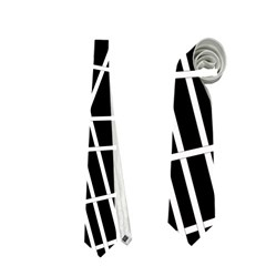 Black and white simple design Neckties (One Side)
