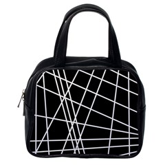 Black and white simple design Classic Handbags (One Side)