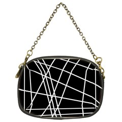 Black and white simple design Chain Purses (One Side)
