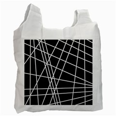Black and white simple design Recycle Bag (One Side)