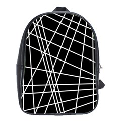 Black and white simple design School Bags(Large)
