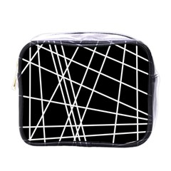 Black and white simple design Mini Toiletries Bags