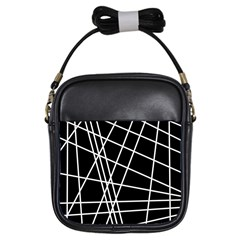 Black and white simple design Girls Sling Bags