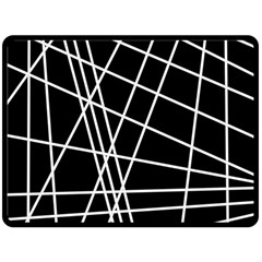 Black and white simple design Fleece Blanket (Large)