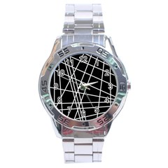 Black and white simple design Stainless Steel Analogue Watch