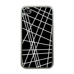 Black and white simple design Apple iPhone 4 Case (Clear)