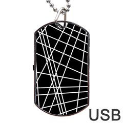 Black and white simple design Dog Tag USB Flash (Two Sides)