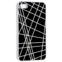 Black and white simple design Apple iPhone 4/4s Seamless Case (White)