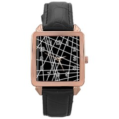 Black and white simple design Rose Gold Leather Watch