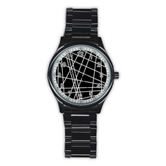Black and white simple design Stainless Steel Round Watch