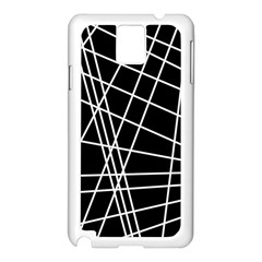 Black and white simple design Samsung Galaxy Note 3 N9005 Case (White)