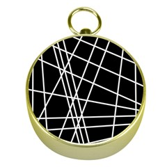 Black and white simple design Gold Compasses