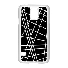 Black and white simple design Samsung Galaxy S5 Case (White)