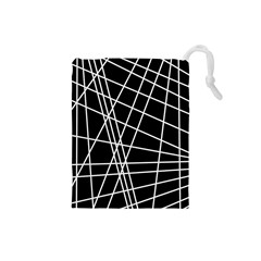 Black and white simple design Drawstring Pouches (Small)