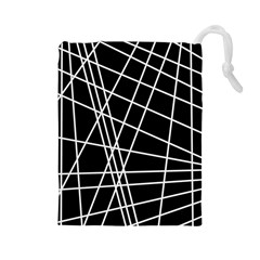 Black and white simple design Drawstring Pouches (Large)