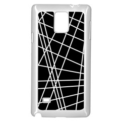 Black and white simple design Samsung Galaxy Note 4 Case (White)