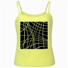 Black and white elegant lines Yellow Spaghetti Tank