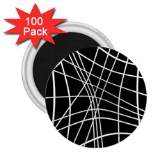 Black and white elegant lines 2.25  Magnets (100 pack)